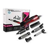Pritech - Cofanetto spazzola elettrica soffiante, 6 accessori, 1000 W