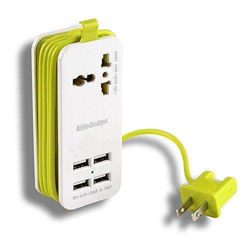 Tragbare Power Strip Travel Outlets, AGPtek (2.1AMP 1AMP 21W) und 1,5m Netzanschlussleitung mit Universal Plug Weitbereichseingang von 100V-240V Steckdosen w / 4 Port 5v 1A / 2,1A USB-Ladegerät für 5V 2.4A Ausgang für iPhone 6/6 plus / 5S / 5, iPad Air / Mini, Samsung Galaxy Note 4 / Note 3 / Note 2 / S5 / S4 / S3, Galaxy Tab, Google Nexus 7, Kindle Fire, und andere Smartphones und Tablets (US Stecker)
