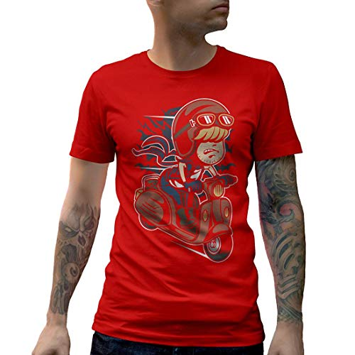 C436MCNTR Herren T-Shirt Scooter Rider Kid Motorcycles Garage Full Speed Cafe Racer Caferacer Oil Custom Race Vintage Classic(X-Large,Red) (Red Rider Scooter)