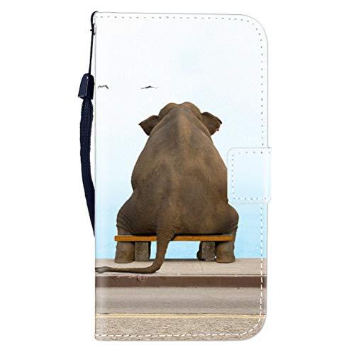 Sunrive Hülle Für WileyFox Spark X, Magnetisch Schaltfläche Ledertasche Schutzhülle Etui Leder Case Cover Handyhülle Tasche Schalen Lederhülle MEHRWEG(W8 Elefant)