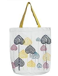 DollsofIndia Astract Jungle Print On White Shopping Bag - 18 X 16 Inches (OJ25)