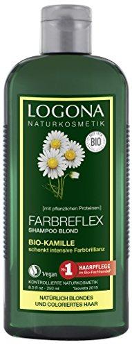 Logona cosmetici naturali colore Reflex Shampoo Camomilla Bio Biondo, protezione del colore per capelli naturalmente Biondi/gefaerbtes, rivitalizza l' intensità di colore, con Estratti Bio, 250ML