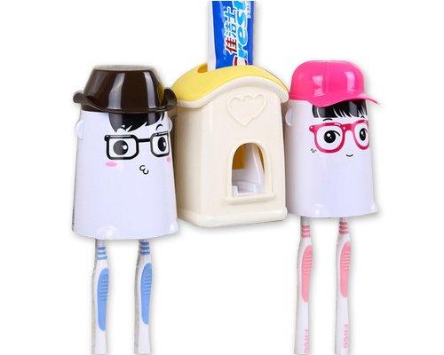 distributeur-automatique-dentifrice-avec-cartoon-en-plastique-porte-brosses-jaune