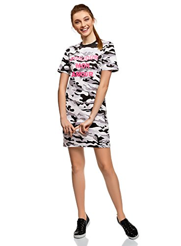 oodji Ultra Damen Gerades Jersey-Kleid, Grau, DE 38 / EU 40 / M