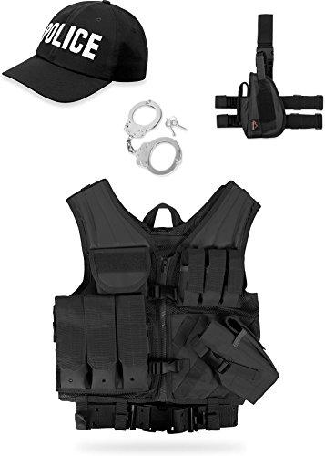 normani Einsatz Kostüm für Erwachsene - Karneval Verkleidung - SWAT, Police, Security oder FBI Set Farbe Police Größe ()