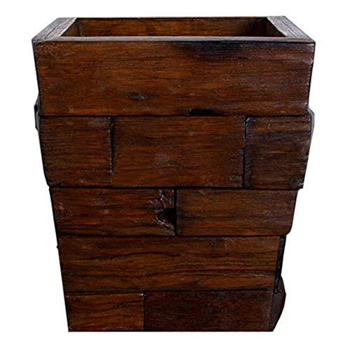 YANZHEN Mülleimer Splice Retro No Cover Handmade High Density Wear Resistant Massivholz Teak, 4 Liter (Farbe : Brown, größe : 22x22x25cm(4L)) -