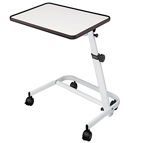 Mesa auxiliar de cama plegable, reclinable y con ruedas y freno color blanco