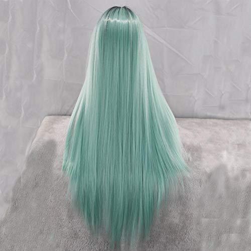 (Mintgrüne Perücke Europa und amerikanische Frauenart lange gerade Cosplay-Partei-Perücke-Haar-Schwarzes Grün gefärbte Steigungs-Chemiefaser Headgear beständige synthetische Haar-Perücke für Frauen)