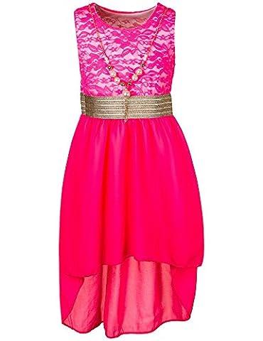 Mädchen Sommer Kleid in 7 Farben mit Kette (18 / 170, #389 Neon Pink)