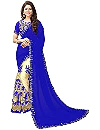 Mishty Fashion Georgette Saree With Blouse Piece (Havy Blue+_Blue_Free Size)