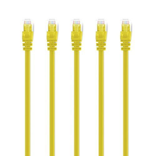 GearIt Cat5e Ethernet cavo patch - Cavo rete LAN per computer Yellow 1.5m (5-Pack)