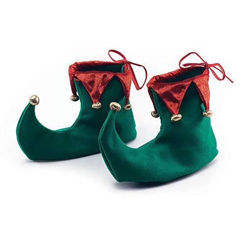 Marlowe costumes - Stivaletti da elfo, aiutante di Babbo Natale, colori: Rosso e Verde