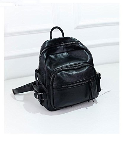 Gaorui 2015 Nuovo Donne Ragazze PU Zaino Scuola Borsa viaggio Zaino PACK SHOULDER BAG nero