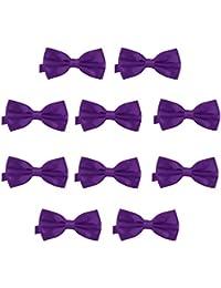 10ed727d63a DonDon Lot de 10 Noeud papillon pour homme 12 x 6 cm avec crochet déjà lié