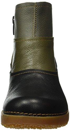 El Naturalista Damen NC79 Soft Grain Black-Kaki-Grafito/ Tricot Schlupfstiefel Mehrfarbig (BLACK-KAKI-GRAFITO NV5)