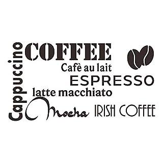 decalmile Noir Café Stickers Citation Et Lettres Cappuccino Espresso Mocha Latte Cuisine Stickers Amovibles Vinyle Decoration Murale pour Cuisine Salle à Manger Café