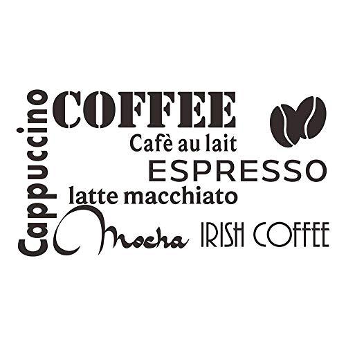decalmile Negro Pegatinas De Pared Letras and Frases Cappuccino Espresso Mocha Latte Cocina Adhesivos Pared Desmontable Vinilos Decorativos para Comedor De Cocina Cafetería