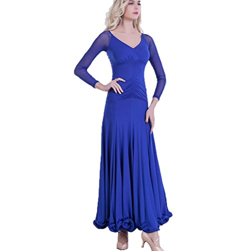 Rongg Walzer Langarm-Kleid Für Frauen Praxis Modern Ballsaal Tanz Kostüme, Blue, XXXL (Blue Zeitgenössischen Tanz Kostüm)