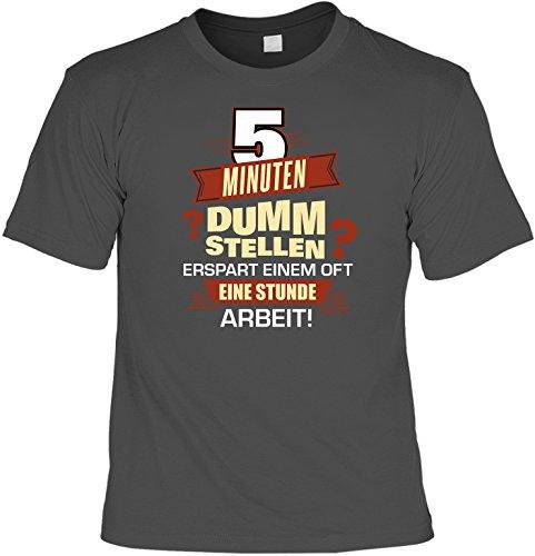 Fun T-Shirt 5 Minuten dumm stellen statt 1h Arbeit Shirt bedruckt Geschenk Set mit Mini Flaschenshirt Anthrazit
