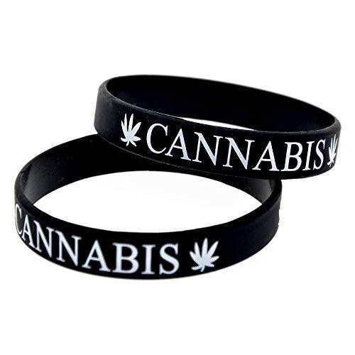 Defect Silikon-Armbänder mit Sprüche Cannabis Leaf Punk-Silikon-Armbänder für Kinder Motivation setzen der Stücke