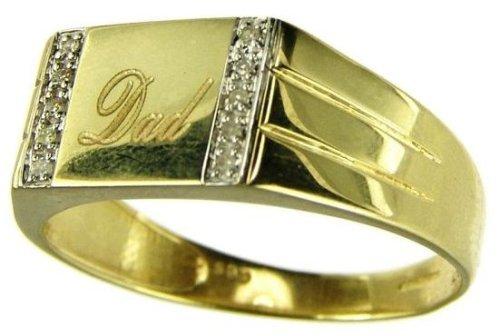 Bague - 884D/P - Anillo de hombre de oro amarillo (9k) con 10 diamantes (talla: 29)