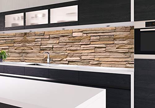 KLINOO Küchenrückwand in Steinoptik als Spritzschutz - Wandschutz - alle Untergründe (verdeckt Fugen) - zuschneidbar/erweiterbar - geruchsneutral - wiederablösbar - 96cm x 68cm (Naturstein beige)