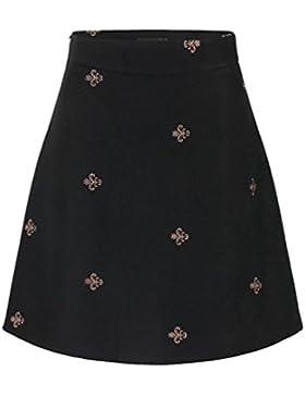 ZhiYuanAN Mujer Falda De Lana Retro Chic Bordado Impresión Faldas Vuelo Largas Moda Talla Grande A Línea Faldas...