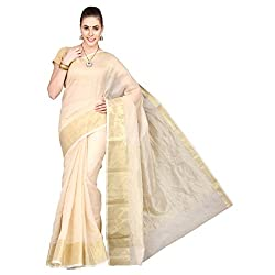 Pavechas Saree with Blouse Piece (MK2194_Beige_One Size)
