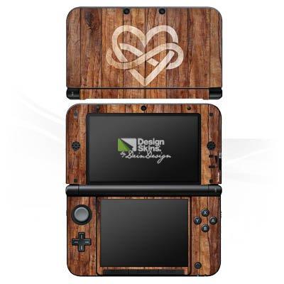 Nintendo 3 DS XL Case Skin Sticker aus Vinyl-Folie Aufkleber Herz Liebe Holz