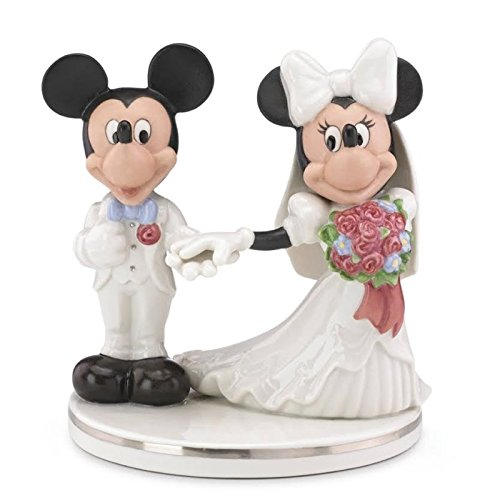 Lenox Disney Mickey and Minnie Mouse Porcelain Wedding Cake Topper 859020 New (Minnie Mouse Cake Topper Figurine)