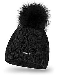 PaMaMi 18511 Bonnet d hiver Thermique en Tricot Chaud avec Pompon Bonnet à  Pompon pour 67f73a5de47