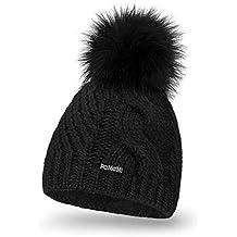 7a2cdca5bb39 PaMaMi 18511 Bonnet d hiver Thermique en Tricot Chaud avec Pompon Bonnet à  Pompon pour