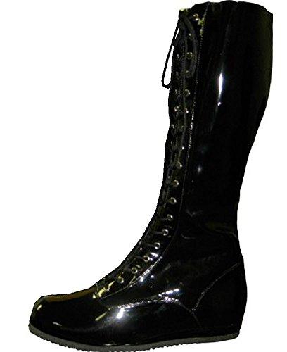 Wrestling Pro Kostüm Schuhe (Large, schwarz) (Pro Wrestling Kostüm Für Erwachsene)