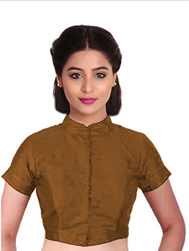 SINGAAR Brown Readymade Blouse - Party Wear - High Neck -Band Collar -Front Button - Perfect Fitting