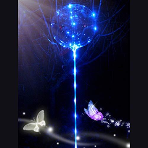 TianranRT Wiederverwendbar Leuchtend Led Ballon Transparent Rund Blase Dekor Party Hochzeit BU (Blau)