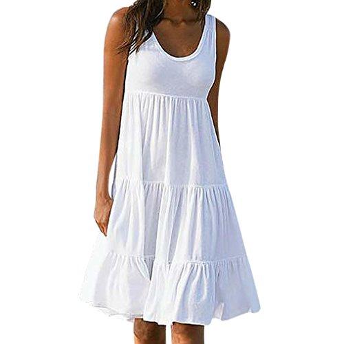 OYSOHE Damen Kleid Weiß Urlaub Sommer Bohemien Spitze O-Ausschnitt Baumwolle Ärmellos Party Strandkleid