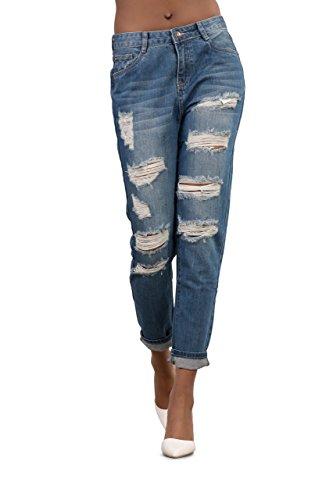Womens blu Ripped Slim Fit Boyfriend Jeans Donna A vita alta Distressed Denim Gamba Dritta Pantaloni Taglia 6-14, Blu, 34