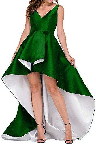 Sunvary Glamour Neu V-Neck 2017 Hi-Lo Taft Abendkleider Partykleider Schleppe Dunkelgruen