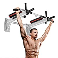 OneTwoFit 6 in 1 Wall Mounted Pull Up Bar with 3 eyelets, made of heavy duty steel, 12 heavy-duty dowels for mounting, Maximum weight: 1100lbs OT066