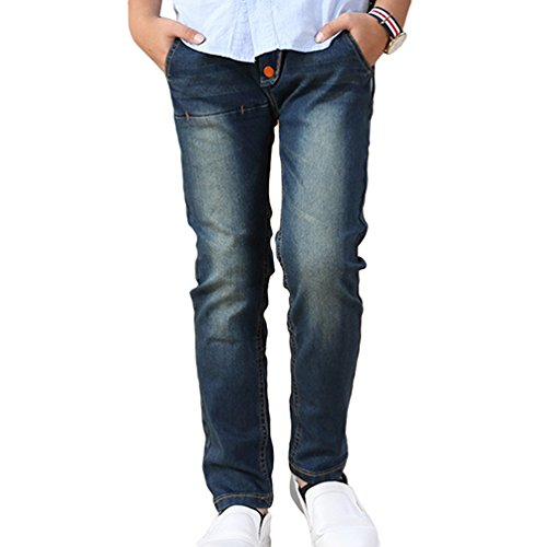 Yiiquan Teenager Jungen Knopf Modische 4 Taschen Kinder Jeans Hose Kinderjeans Als Bild Größe 140 (Zwei-knopf-jeans Gefütterte)