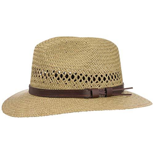 Lipodo Traveller Strohhut Damen/Herren - Made in Italy - Sommerhut aus Stroh - Sonnenhut mit braunem Lederband - Sommertraveller Größen S-XL Natur XL (60-61 cm)