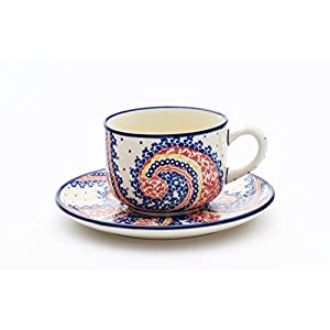 Boleslawiec Pottery Hand Made Cup and Saucer set, pattern 250AR