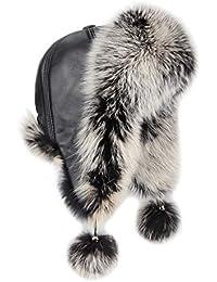 OBC Damen Fuchs MÜTZE Pelzmütze Fellmütze Aviator Fliegermütze Wintermütze Skimütze Kappe Fox Uschanka Polarmütze Echt Fell