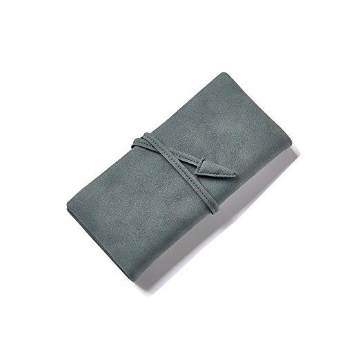 Yvonnelee Donne Della Signora Frizione Lungo Della Borse Borsa UP cuoio Della Carta Portafoglio Leather Titolare Verde
