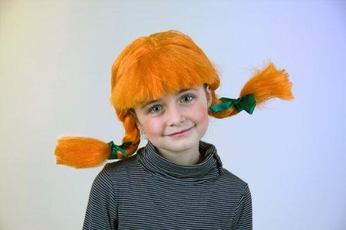 Festartikel Müller Karneval Mädchen Perücke Zöpfe orange zum verrücktes Mädchen Kostüm