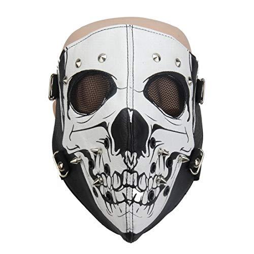Mkulxina Horror Gothic Niet Steampunk Maske Biker Männer Motorrad Half Face Anti Staub Cosplay Airsoft Wind Kühlen Punk Maske (Color : 1)