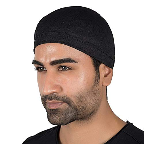 JMD HELMETS Cotton Helmet Cap (Black, Free Size)