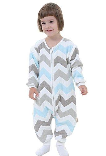Gigoteuse bébé Manches Longues -garcon -Fille pyjama enfant toutes saisons confort combinaison à pieds Six couches de gaze. (L:90-100CM (3- 4 ans), Rayures-bleu)