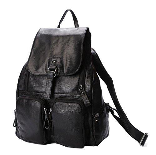 Greeniris Damen Klassisch Echtes Leder Rucksack Damen Vintage Schulrucksack für Damen/Mädchen Schwarz