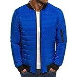 SOWTKSL Men's Autumn Winter Zipper Warm Packable Puffer Down Jacket Light Weight Coat Royal Blue XXS
